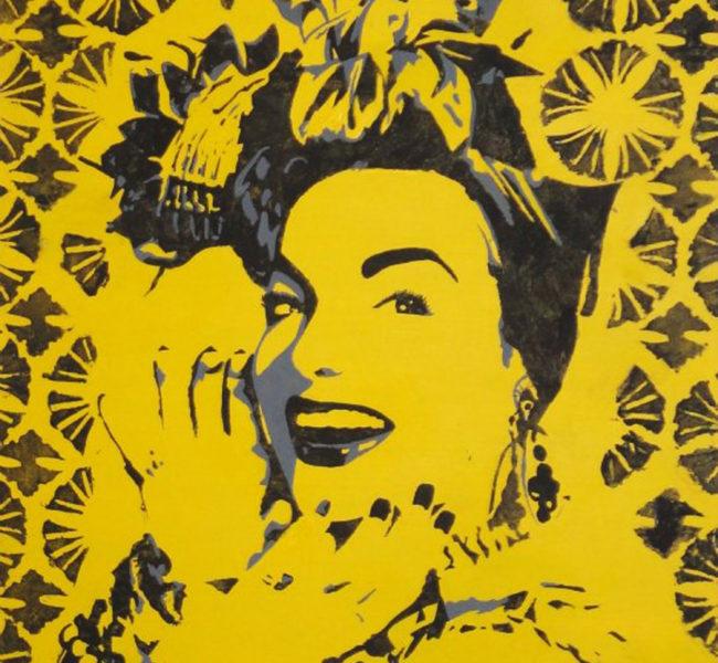 Gabellare | Graphic design portfolio & blog of Genesis Alvarez | Carmen Miranda stencil portrait, made with acrylic on wood.