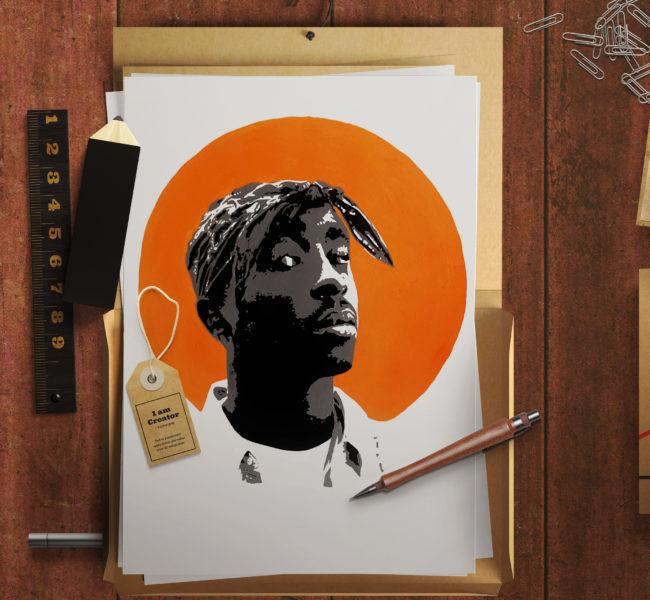 Gabellare | Graphic design portfolio & shop of Genesis Alvarez | Illustrated Portraits:Tupac Shakur. Acrylics on Fine Art Paper