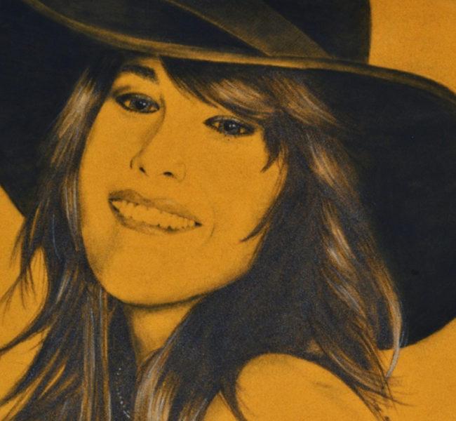 Gabellare | Graphic design portfolio & blog of Genesis Alvarez | Liv Taylor portrait design, charcoal on mustard velvet paper