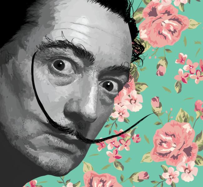 Gabellare | Graphic design portfolio & shop of Genesis Alvarez | Salvador Dali digital portrait art. Vectorial illustration.