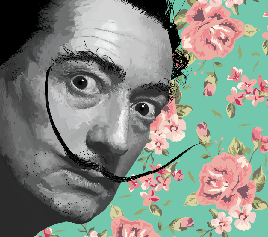 Gabellare | Graphic design portfolio & shop of Genesis Alvarez | Salvador Dali digital portrait art. Vectorial illustration.